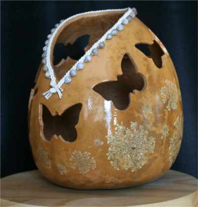 Decorative Gourd With Butterfly Cutouts Martha S Gourds